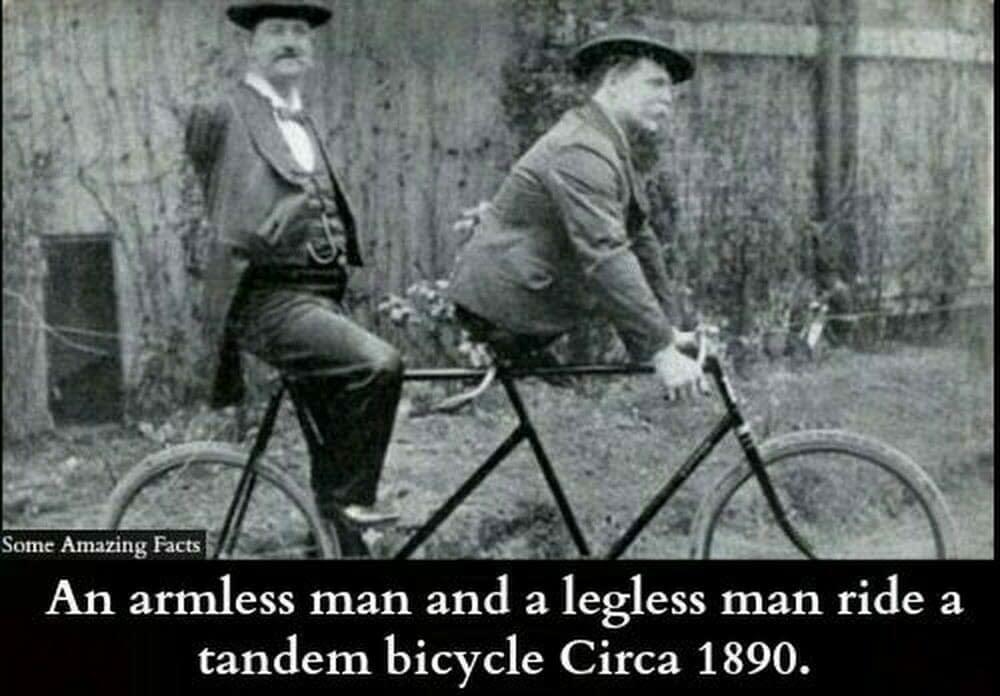 Armeless man legless man riding tandem - Das ist wahres Teamwork: