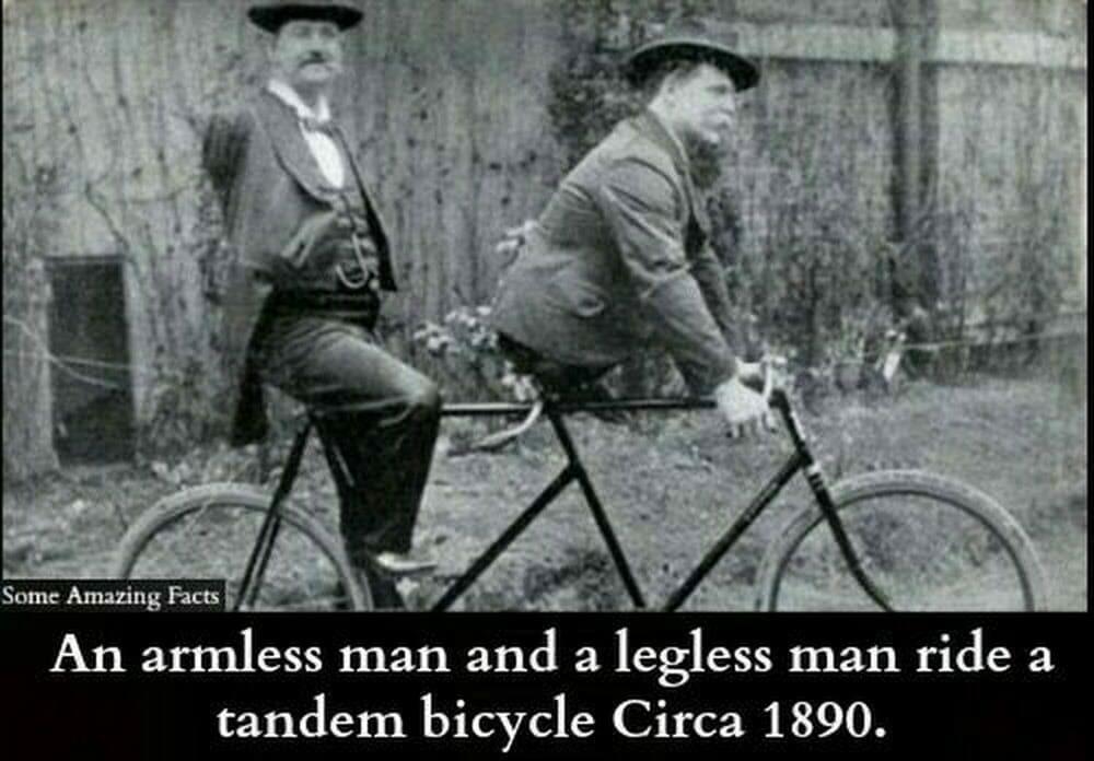 Armeless man legless man riding tandem - BLOG